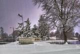 Footbridge To Turtle Island On A Snowy Night P1500602-8