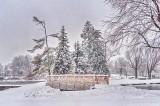 Footbridge To Turtle Island In Snowfall P1510002-8