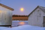 Snow Moon Setting Between Boathouses P1510513-9