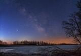 Milky Way Galactic Core & Airplane Lights P1520699