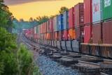 Long Freight Train At Sunrise P1540385-91