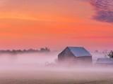 Old Barn In Sunrise Ground Fog DSCN29028