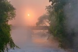 Train Bridge In Morning Fog P1560094-00
