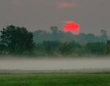 Red Sun Rising Beyond Ground Fog DSCN34507