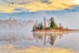 Autumn Island In Fog At Sunrise P1560681