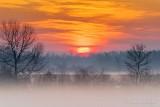 Clouded Sunrise Over Haze & Ground Fog P1570484-90
