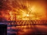 Sunrise Sunrays Beyond Footbridge DSCN48637-9