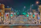 Holiday Light Poles At Night P1590456-62