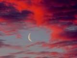 Crescent Moon Beyond Sunrise Clouds DSCN53351