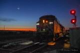 Moon Beyond Westbound CP 8710 At Dawn 90D04745