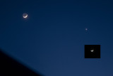 The Crescent Moon and Venus Setting