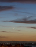 Mercury, Venus and the Young Moon Setting