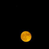 The Smoky waning gibbous moon Moon and Mars Conjunction