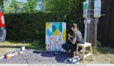 Creation of a mini mural by Sofie for 'Tour Elentrik