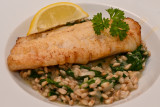 Cod with Spinach and Spelt Risotto