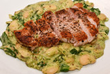 Pork Steaks with Mustardy Butter Beans and Spinach