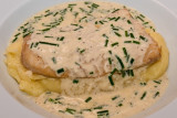 Smoked Cod with Chive Crème Fraîche Sauce on Cheesy Mashed Potatoes