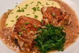 French Chicken in Vinegar Sauce with Polenta