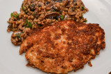 Parmesan Crusted Chicken with Mushroom Spelt Risotto