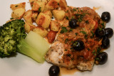 Pan Fried Cod with Olives and Tomatoes