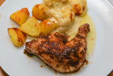 Oven Roasted Chicken Legs with Cauliflower Cheese