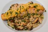 Lemony Salmon with Mushroom Orzo Risotto
