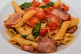 Penne with Bacon, Tomatoes and Basil