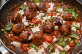 Greek Lamb Meatballs with Tomatoes and Feta