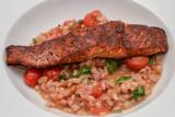 Chipotle Salmon with Tomato Spelt Risotto