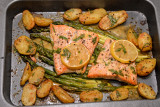 Trout, Asparagus and New Potato Tray Bake