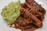 Sausages with Onion Gravy and Broccoli Mash