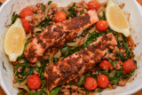Spiced Salmon with Black-Eyed Peas, Spinach and Tomatoes
