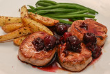 Pork Medallions with Cherry Red Wine Sauce