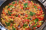 Orzo with Chorizo, Sweetcorn, Spinach and Peppers