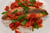 Sea Bass with Chilli Cherry Tomatoes and Rice Noodles
