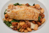 Cod with Chorizo, Butterbeans and Goat's Cheese