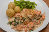 Halibut with Prawns and Dill Cream Sauce