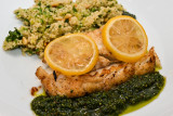 Cod with Lemon-Basil Pesto and Courgette Couscous