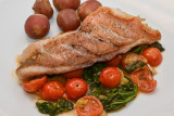 Redfish with Spinach and Tomatoes