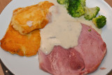Ham with Polenta Cakes and Blue Cheese Sauce.