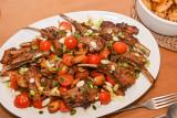 Marinated Greek Lamb Chops with Mushrooms and Tomatoes