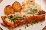 Roast Pork Belly with Hasselback Potatoes