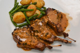 Lamb Cutlets with Madeira Saauce and Garlicky Beans and Potatoes