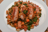 Sausages with Lentils, Tomatoes and Bacon