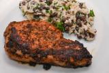 Jerk Pork Steaks with Rice and Peas