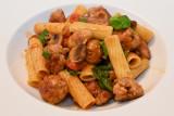 Rigatoni with Sausage, Mushroom and Tomato