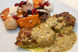 Pesto-Parm Chicken with Roasted Butternut Squash and Cranberries