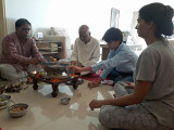 Performing a pooja to celebrate Nanu's 80th birthday