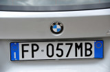 Italian license plate of our rental car