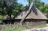Thatched barn made of a simple wooden lattice, Yasnozir'ya farmstead